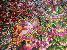 Vintage KITSCH Italian Cherub Floral Coverlet Fringed Bedspread Boho Gypsy MCM