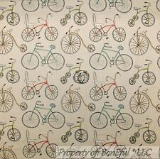 BonEful Fabric FQ Cotton Quilt VTG Tan Cream Wheel BIKE America Old World Beach