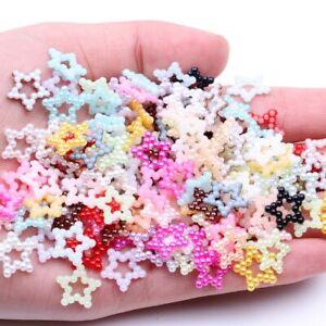 12mm 95pcs Resin Star Pearlized Starlet Flatback Pearls Rhinestone Decoration