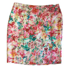 SPORTSCRAFT SIZE 18 Linen Floral Pink Green Knee Length Straight Lined Skirt