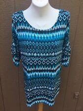 New $89 Chico's Travelers Coastal Ikat Pavlova Turquesa Top Shirt 3 XL 16 18 NWT
