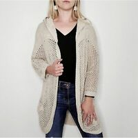 Eddie Bauer Women's Small Cream Open Knit Long Hooded Duster Cardigan