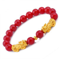 Pure 24K Yellow Gold Bracelet Woman 14*6mm 3D Two Lucky Pixiu Agate 6 Word Bead