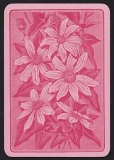 1 Single ANTIQUE Playing/Swap Card OLD ENGLISH WIDE FLOWERS CLEMATIS DAISY Pink