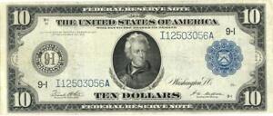 U.S. Large Size $10 Dollars Federal Reserve FR-939 Banknote 1914