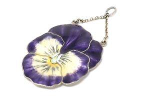 A Superb Antique Art Deco Silver 930 Marius Hammer Enamelled Flower Pendant