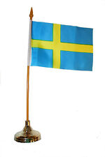 """SWEDEN COUNTRY 4"""" X 6""""  inch stick flag with GOLD STAND on 10"""" plastic pole"""