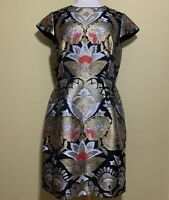 Ted Baker Imoen Opulent Orient Metallic Jacquard Dress Size 5 EUC
