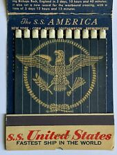 Vintage giant feature matchbook S.S. United States fastest ship in the world