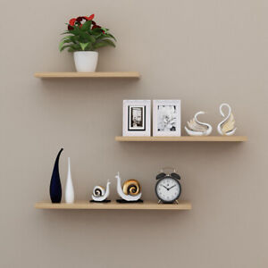Set of 3 Floating Wall Shelves Hanging Storage Display Shelf Wall Mounted Décor