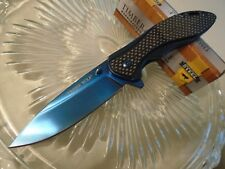 Timber Wolf Blue Rocket Assisted Open Genuine Carbon Fiber Pocket Knife 593 New