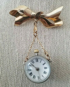 Antique* Victorian* Ball/orb* watch brooch* silver and gold filled brooch* as is