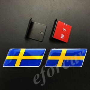 2pcs Sweden Flag Car Front Grille Grill Emblem Badge Decal Sticker Gift Saab