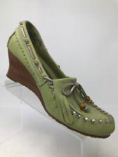 Sam Edelman Leather w/Wooden Wedge Kilt Tassel Boat Green Women 8 1/2 M