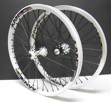 """new Free Agent 20"""" BMX Front & Rear wheels 3/8 16T Sealed Bearing White"""