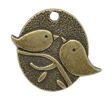 5X oiseaux pendentif breloque couleur bronze 25 x 29mm alliage de zinc