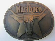 Belt Buckle Solid Brass  MARLBORO Logo Philip Morris 87 Longhorn Texas Cigarette