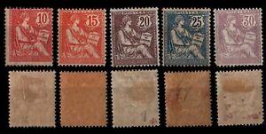 L'ANNÉE 1902 Complète, Neufs * = Cote 632 € / Lot Timbres France n°124 à 128