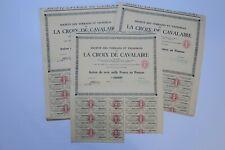 TERRAINS ET VIGNOBLES DE LA CROIX DE CAVALAIRE 3000 FRANCS 1954 X 55 ACTIONS