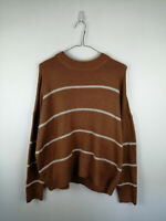 WOMENS BRAVE SOUL LONDON KNIT JUMPER SIZE M BROWN CREW NECK WARM COSY STYLE TOP