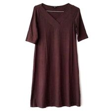 Eileen Fisher Womens Small Jersey Dress Cobblestone Brown V Neck Career
