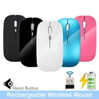 New 2.4GHz USB Optical Rechargeable Wireless Mouse Silent Ultra Thin Gaming Mice