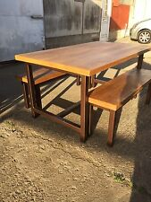 Bespoke Timber Wood Dining Table with 2 Benches - Industrial Style Wooden Set