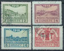 Dt. Post in Polen Przedborz Mi.Nr. 3-6 B gestempelt geprüft BPP Mi.W. 132€(5428)