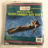 "Vintage Styling Extra Wide Suntanner Air Mat Pool 72"" x 30"" Clear Top Silver Btm"