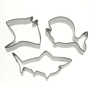Ocean Sea Creature Cookie Cutter Shark Whale Stingray Metal Set