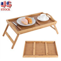 Bamboo Legs Folding Bed Tray Laptop Computer Stand Breakfast Desk Serving Table