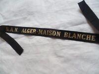 BAN ALGER MAISON BLANCHE Aéronavale Marine Ruban légendé ORIGINAL cap tally