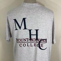 Vintage 90s Mount Holyoke College Jansport Gray T Shirt Men's XXL 2XL Tee