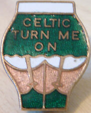 CELTIC TURN ME ON Rare vintage badge maker P&G SPORTS Brooch pin 25mm x 31mm