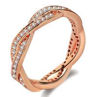 Fashion Crystal Winding Engagement Wedding Ring 18K Rose Gold Plated Band US 7/8