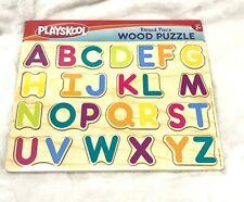 Playskool Education Raised Alphabet Wooden Puzzle, Vivid Colors, 11.5 x 10 Inch