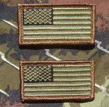 2 Mini Usa United States Flags Us Army Hat Forest Velcro® Brand Fastener Patch