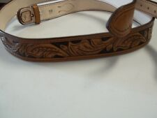 #081 SIZE 55 BROWN WESTERN FLORAL RANGER BELT Offered by BLUEHORN CUSTOM LEATHER