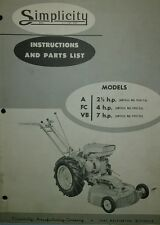 Simplicity A FC VB Walk-Behind Garden Tractor Parts Manual 12pg Wards Two-Wheel