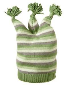 GYMBOREE BRAND NEW BABY GREEN STRIPE POM POM SWEATER HAT 0 3 6 NWT