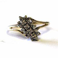 14k yellow gold .21ct SI1 H ladies diamond cluster ring 2.5g womens estate