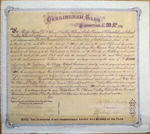 Hurlingham Club - Fulham, London 1874 Bond Certificate/Debenture - England, UK