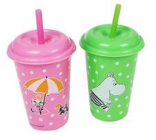 Moomin Zwei Plastik Becher mit Deckel Und Strohhalm