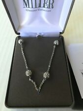 NOLAN MILLER NECKLACE ROUND Pave Silver Tone Crystal Runaround Glamour Bead RARE