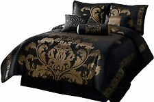 Chezmoi Collection 7-Piece Jacquard Floral Comforter Set Bed-in-a-Bag Set, Queen