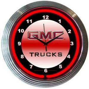 Lorry Neon Wall Clock GMC Trucks Vintage Advertising Sign Face Red Lighted Dial