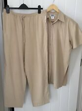 100% Pure Silk Ladie Beige 2 pieces Set Shirt + Trouser  Size M 16 /18 brand new