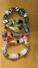 Beaded Stretch Bracelets Lot Of Three Glass