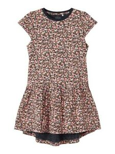 NAME IT kurzarm Kleid NKFVigga dunkelblau rosa geblümt Größe 116 bis 152