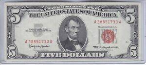 1963 $5 Five Dollar Red Seal Note - Uncirculated Note